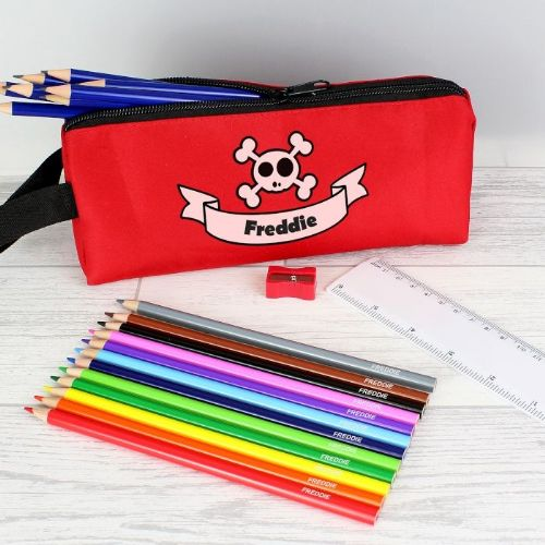 Red Skull Pencil Case & Personalised Contents